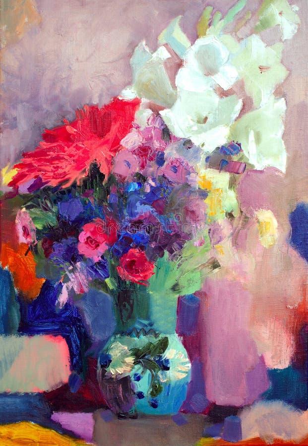 Peinture à l'huile des fleurs illustration de vecteur