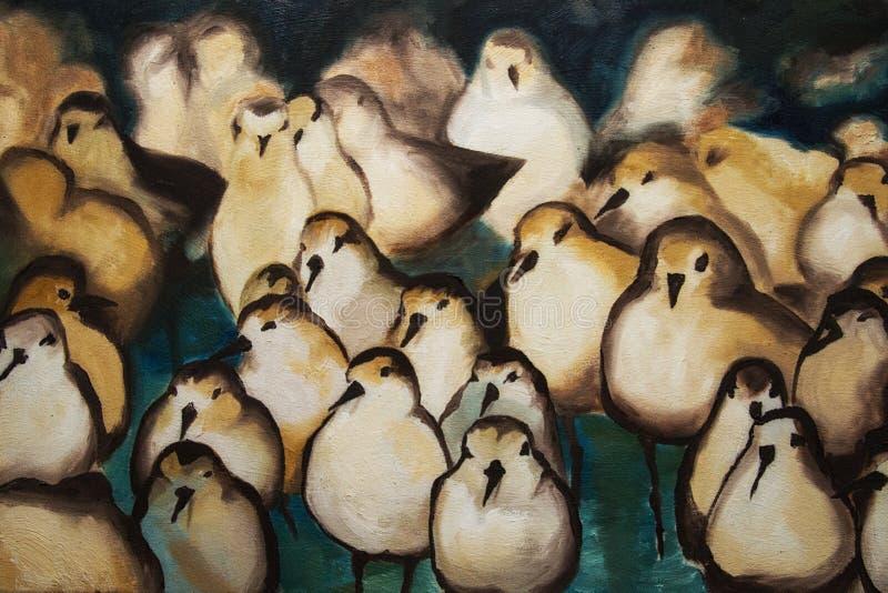 Peinture à l'huile des oiseaux sur une plage photo stock