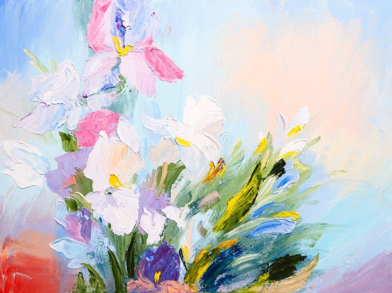 Peinture à l'huile - le bouquet abstrait du ressort fleurit, coloré illustration stock