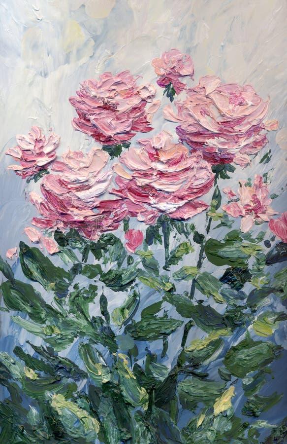 Peinture à l'huile Les roses roses du jardin photo stock