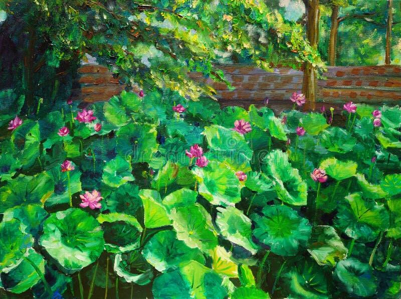 Peinture à l'huile - lotus illustration de vecteur