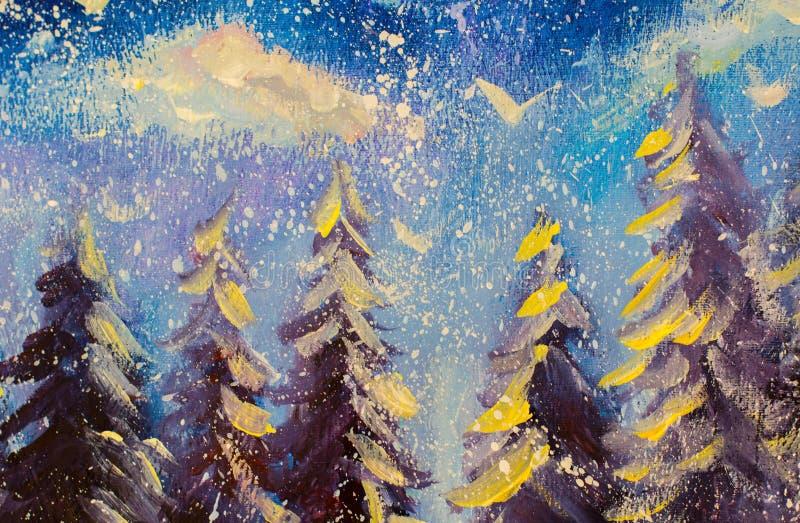 Peinture à l'huile originale de forêt féerique abstraite d'hiver Grands sapins neigeux d'impressionisme sur le fond du ciel bleu  illustration libre de droits
