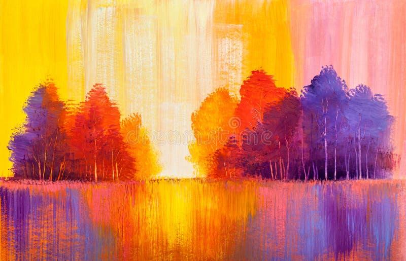 Peinture à l'huile originale de paysage d'automne illustration libre de droits