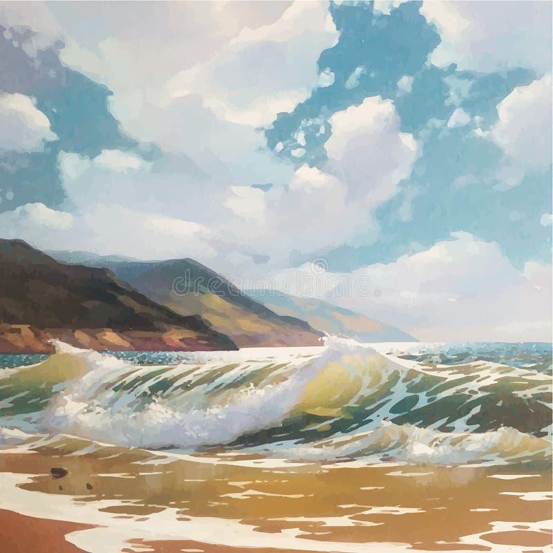 Peinture à l'huile originale de vecteur de mer et de plage sur la toile Sun d'or riche au-dessus de mer Réalisme et impressionism illustration de vecteur