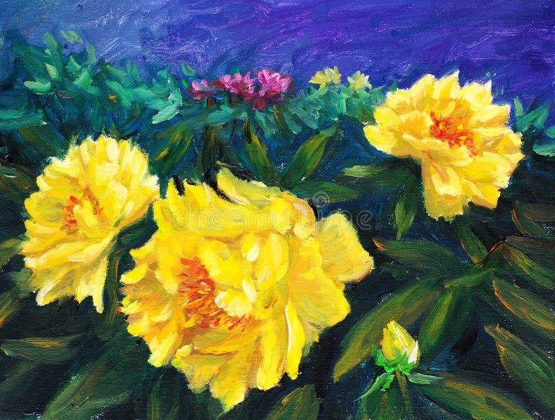 Peinture à l'huile - pivoine de floraison illustration de vecteur