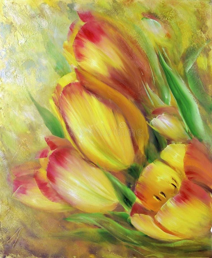 Peinture à l'huile rouge jaune de tulipes de vintage illustration libre de droits