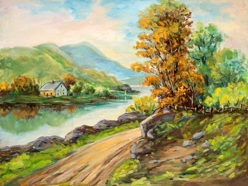 Peinture à l'huile rurale de paysage de scène illustration stock