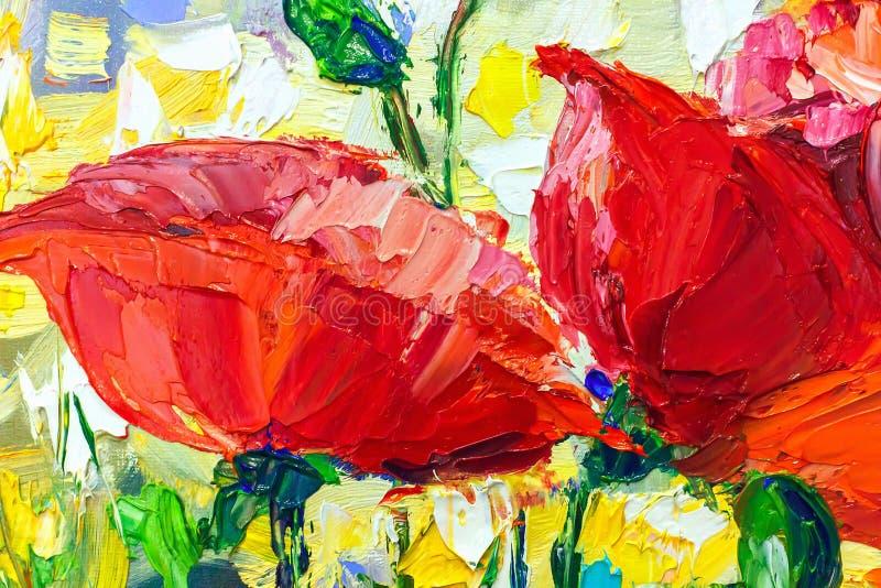 Peinture à l'huile, style d'impressionisme, peinture de texture, stil de fleur illustration stock