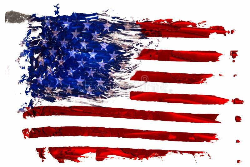 Peinture à l'huile tirée par la main des courses de brosse d'huile de drapeau des Etats-Unis d'isolement illustration de vecteur