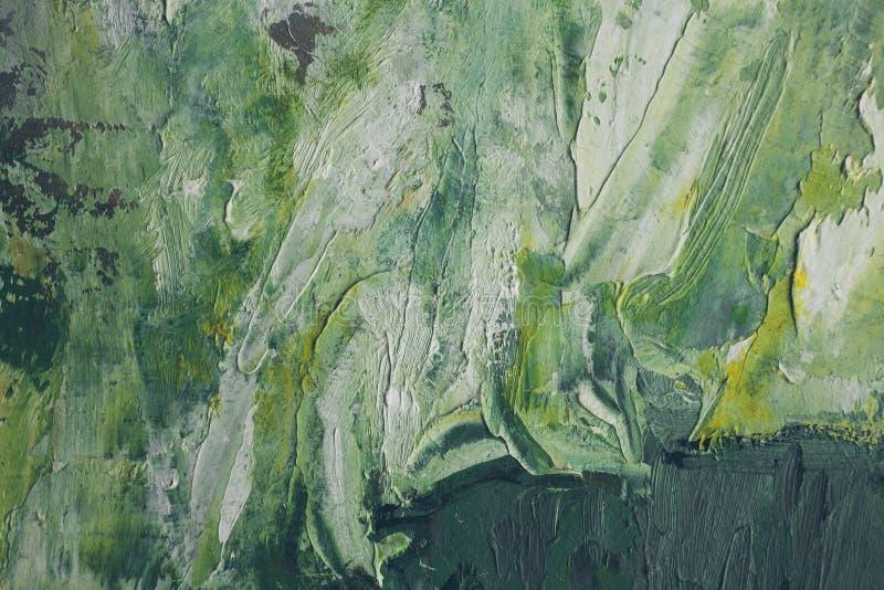 Peinture à l'huile tirée par la main Fond abstrait vert Peinture à l'huile sur la toile illustration stock