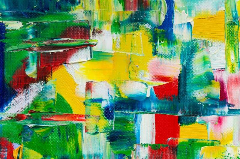 Peinture à l'huile tirée par la main Fond d'art abstrait Peinture à l'huile sur la toile Fragment d'illustration Taches de peintu images stock