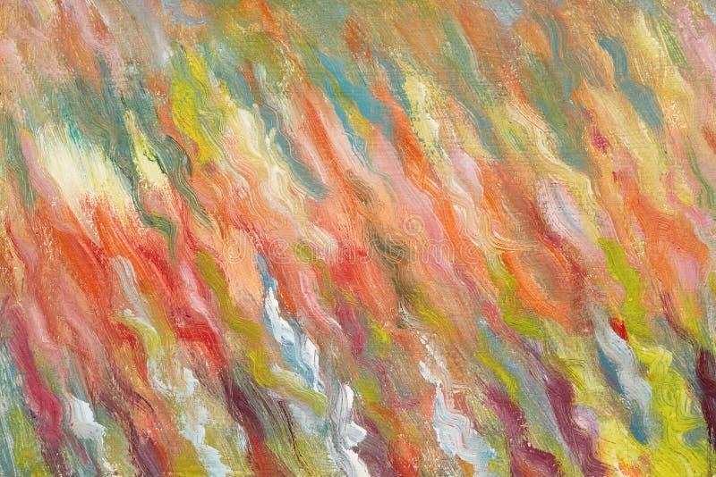 Peinture à l'huile tirée par la main Traçages de couleurs lumineuses Art contemporain Toile colorée Un travail d'un peintre doué illustration libre de droits