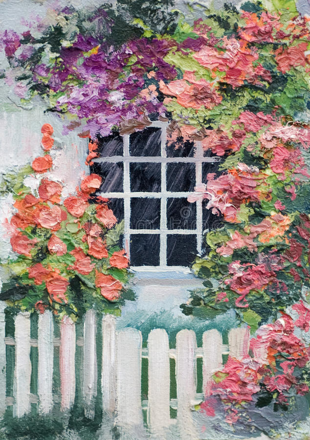 Peinture à l'huile - un bon nombre de fleurs autour de la maison, passage couvert illustration stock