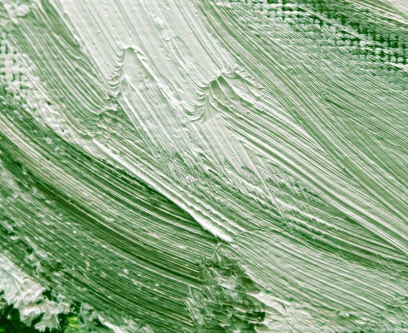 Peinture à l'huile verte sur la toile en tant que fond abstrait photographie stock