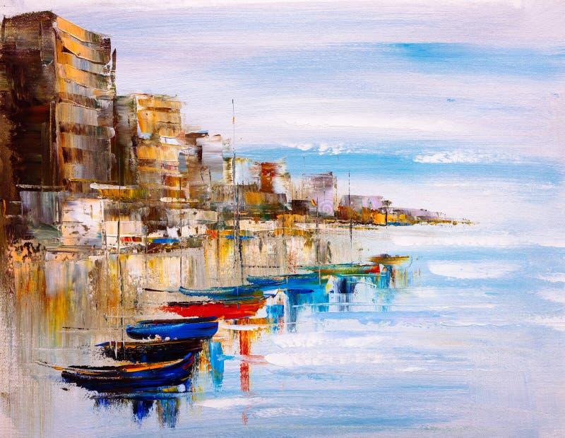 Peinture à l'huile - vue de port illustration stock