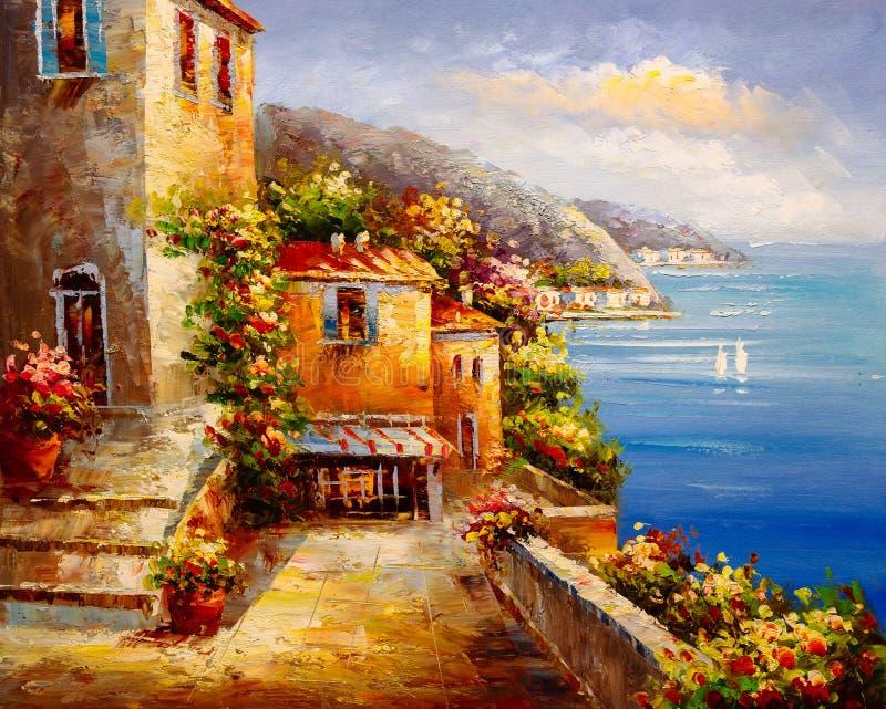 Peinture à l'huile - vue de port, Grèce image libre de droits