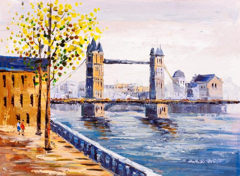 Peinture à l'huile - vue de rue de Londres illustration libre de droits
