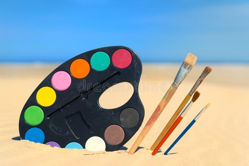 Peinture à la plage photographie stock libre de droits