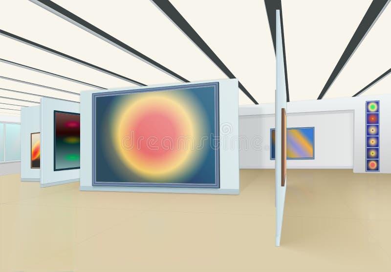 Peinture abstraite accrochant sur le mur et les supports dans la galerie d'art avec le plafond de suspension illustration stock