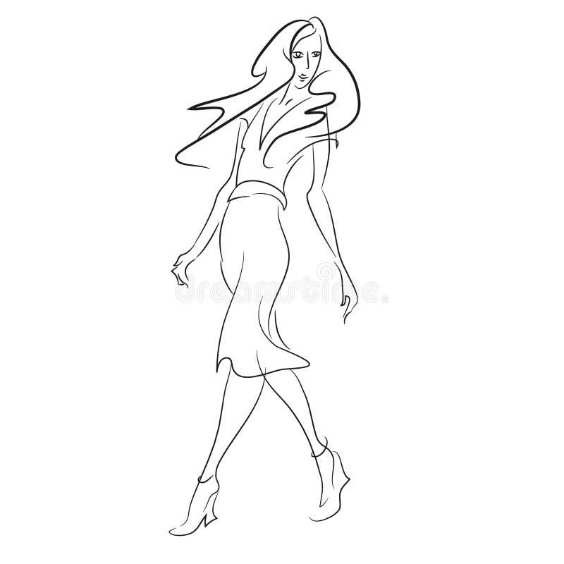 Peinture abstraite avec la femme dans la longue marche de robe photo libre de droits