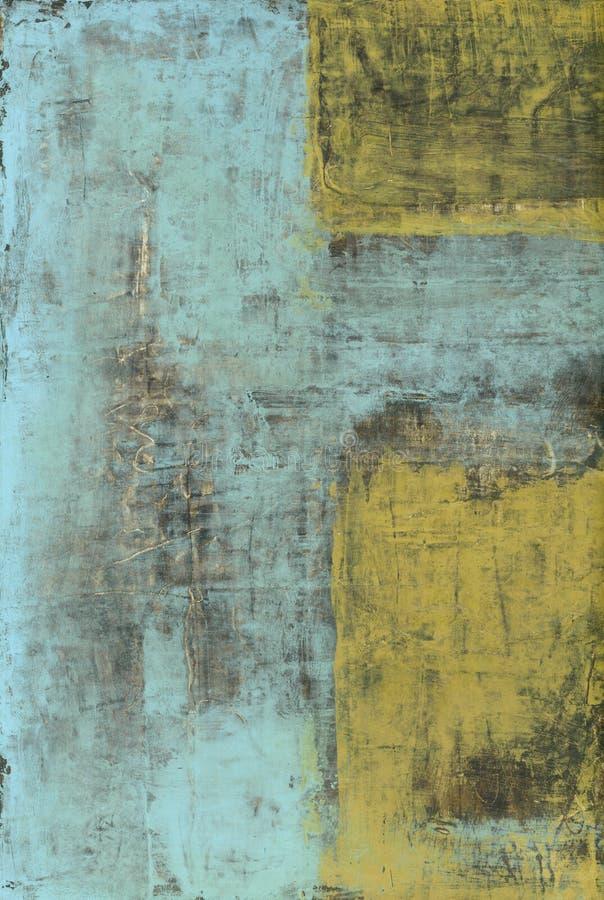 Peinture abstraite bleue et jaune illustration libre de droits