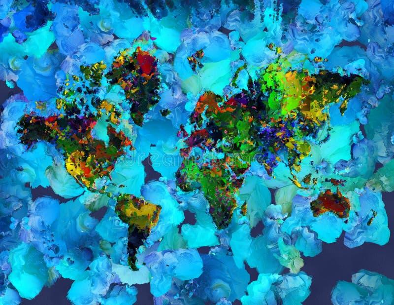 Peinture abstraite Carte colorée du monde illustration stock