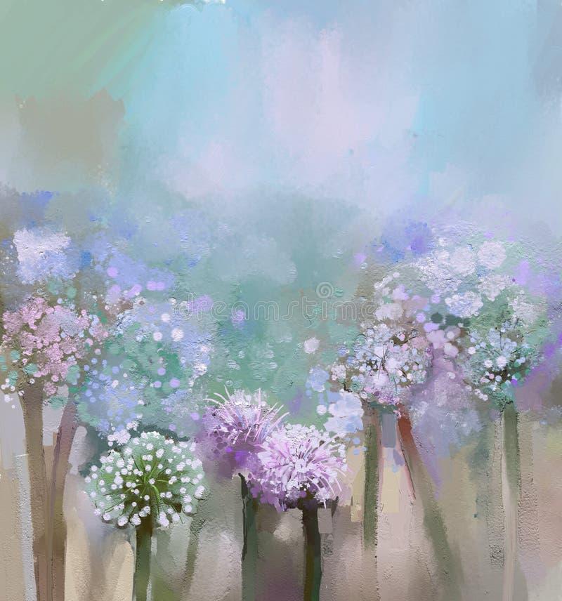 Peinture abstraite d'oignon fleurissant illustration stock