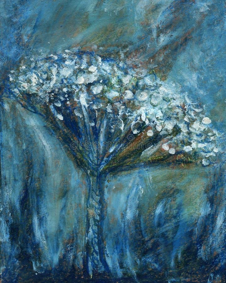 Peinture abstraite de fleur sur le fond de papier grunge illustration de vecteur