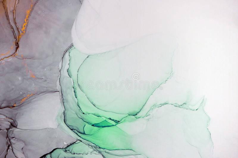 Peinture abstraite moderne d'encre d'alcool, art moderne, art abstrait, art contemporain images libres de droits