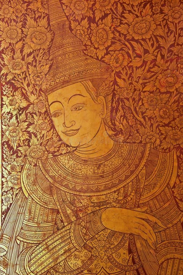 Peinture acient thaïe d'art sur la trappe de chuch image libre de droits