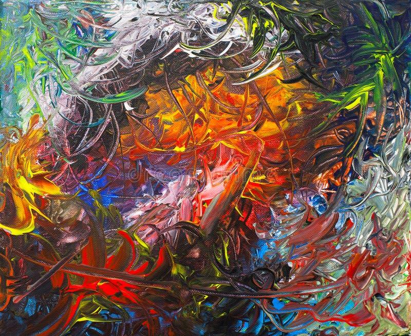 Peinture acrylique abstraite colorée et dense illustration de vecteur