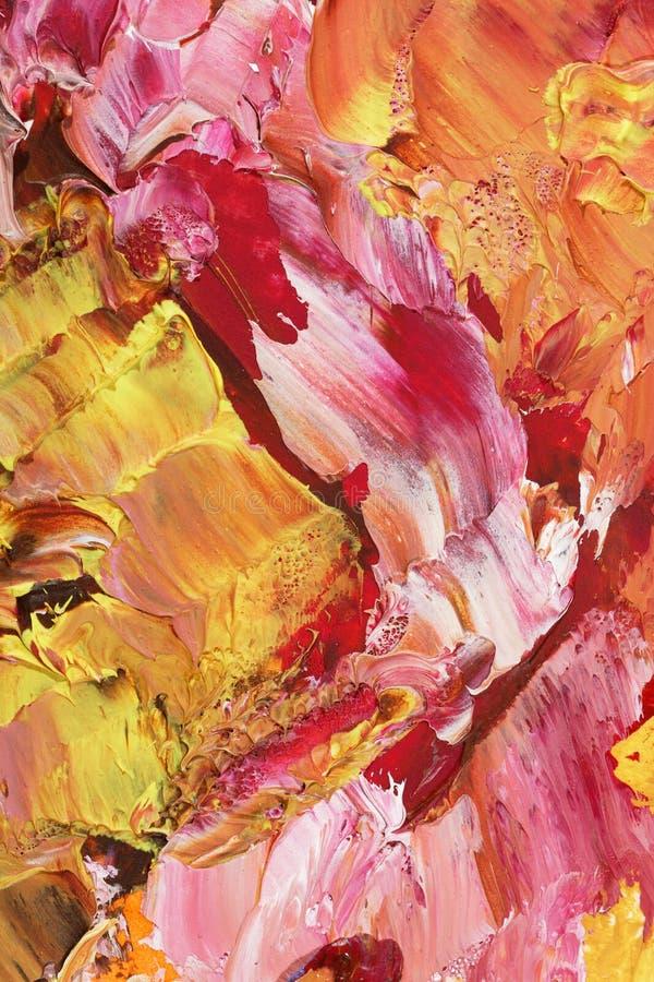 Peinture acrylique abstraite dans des tons en pastel de rose et d'or photo stock