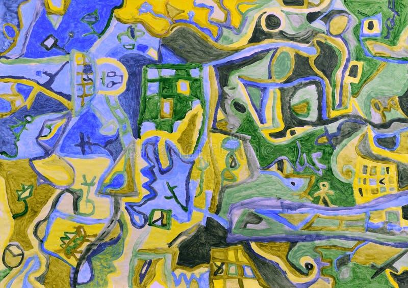 Peinture acrylique de paysage aérien abstrait illustration de vecteur