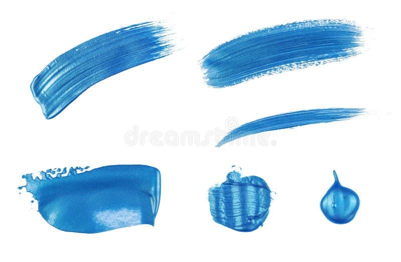 Peinture acrylique sur un fond blanc - bleu métallique images libres de droits