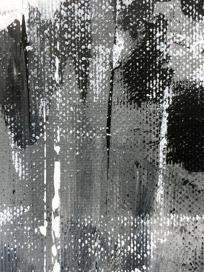 Peinture acrylique tirée par la main noire et blanche illustration libre de droits