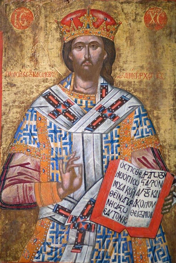 Peinture antique avec le grand prêtre de saint du Christ images libres de droits