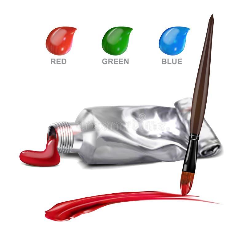Peinture artistique de calomnie de tube avec des taches de brosse et de trois-couleur, illustration de vecteur