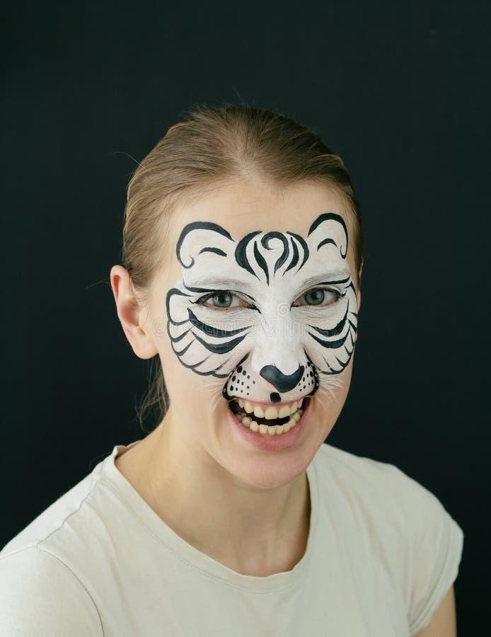 Peinture blanche de visage de tigre photo libre de droits