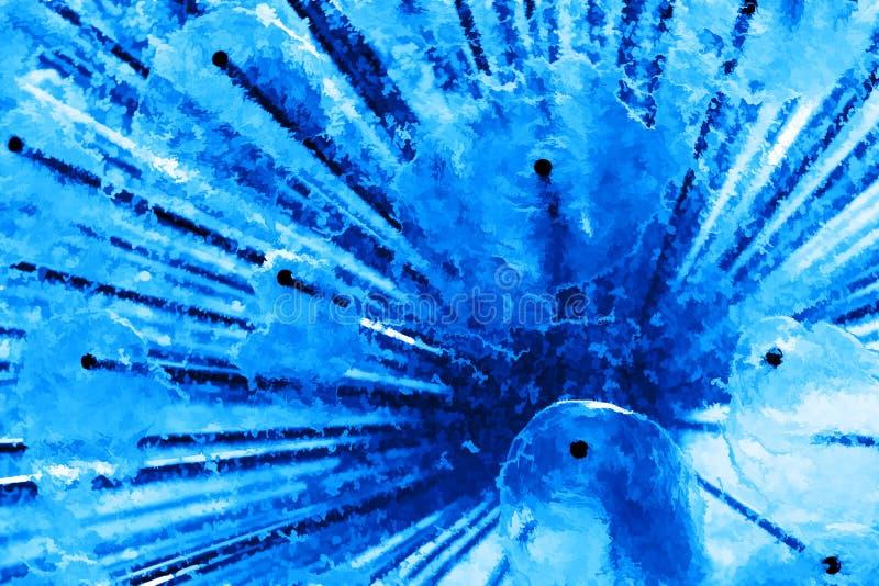 Peinture bleue diagonale de fontaine de ville d'eau douce illustration libre de droits