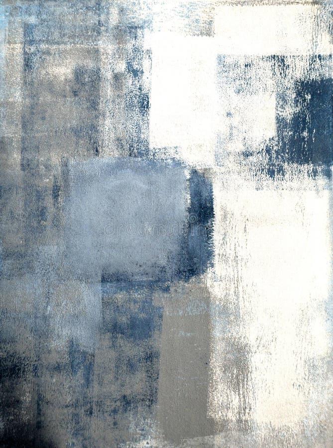 Peinture bleue et grise d'art abstrait photo libre de droits