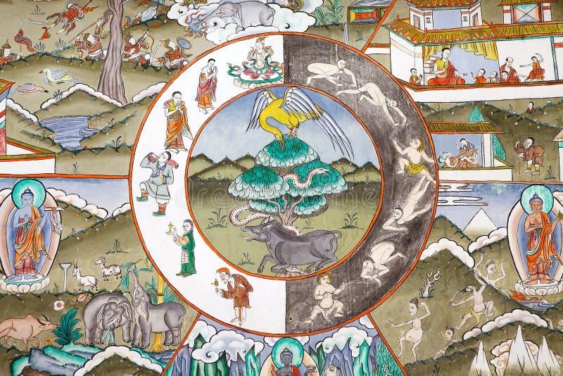 Peinture chez le Trongsa Dzong, Trongsa, Bhutan photos libres de droits