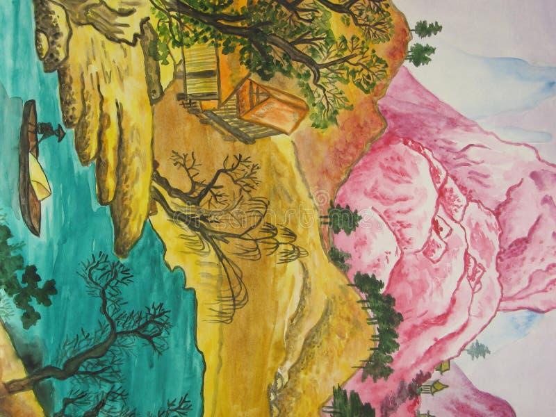 Peinture chinoise. illustration de vecteur