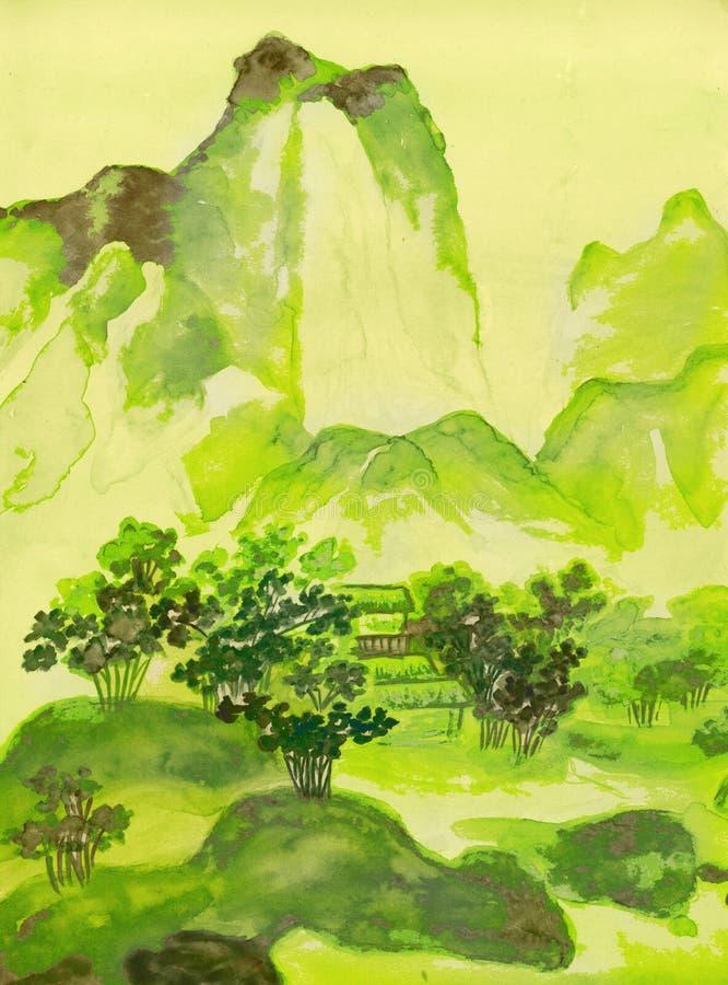 Peinture chinoise, collines illustration libre de droits