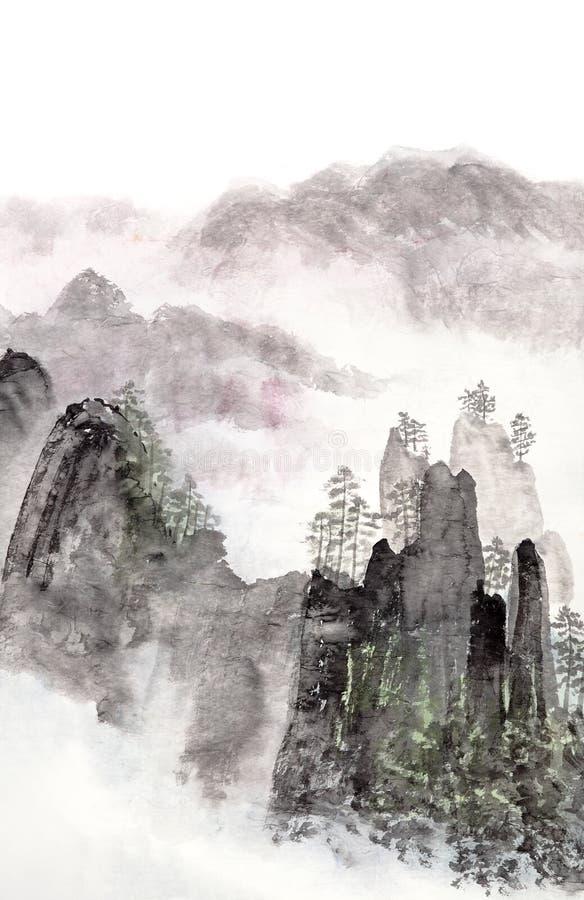 Peinture chinoise de paysage de haute montagne photos stock