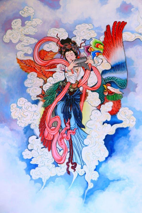 Peinture chinoise de tradition sur le mur illustration libre de droits