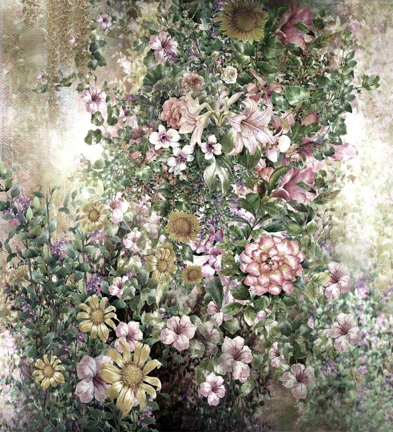 Peinture colorée abstraite d'aquarelle de fleurs Ressort multicolore illustration libre de droits