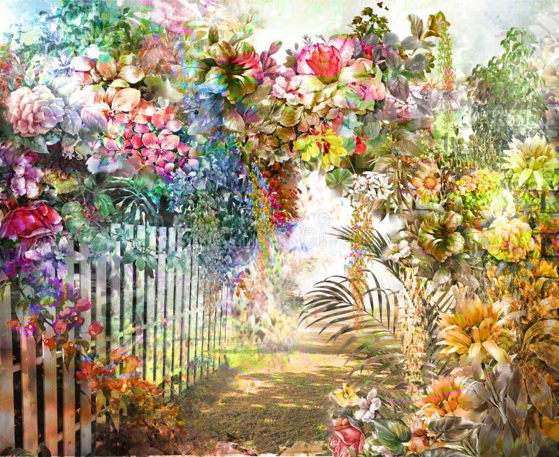 Peinture colorée abstraite d'aquarelle de fleurs Ressort multicolore illustration de vecteur