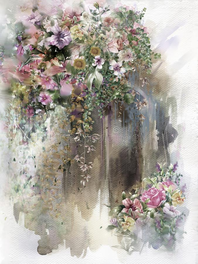 Peinture colorée abstraite d'aquarelle de fleurs Ressort multicolore en nature illustration libre de droits