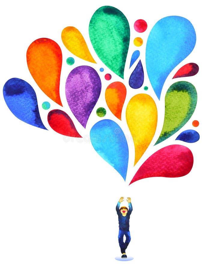 Peinture colorée d'aquarelle de couleur de ballon de garçon d'esprit heureux de puissance illustration libre de droits
