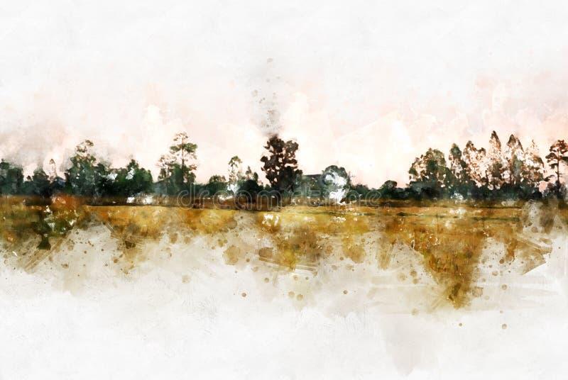 Peinture colorée d'illustration d'aquarelle de paysage de champ et d'arbre images stock